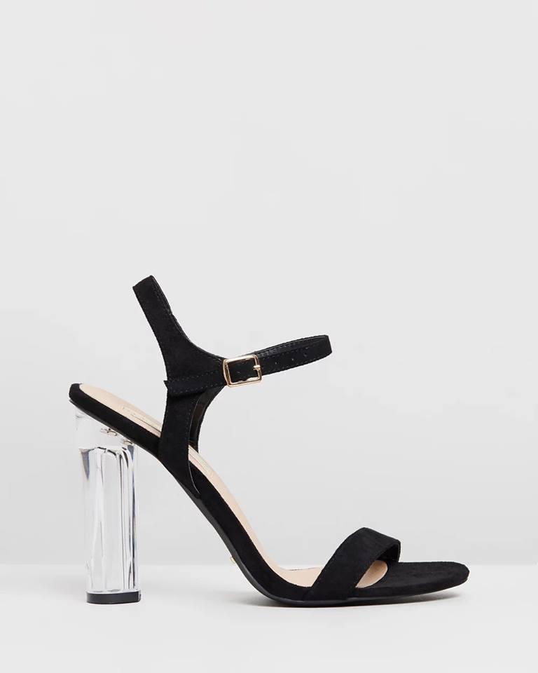 Giày cao gót trong suốt quai mảnh đen - GAFA